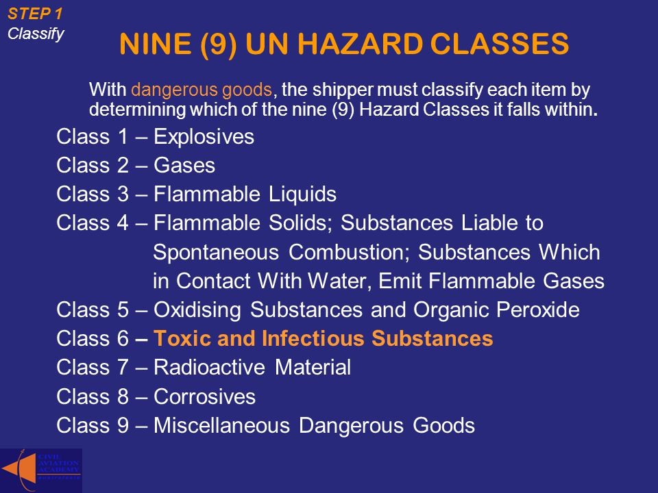 NINE (9) UN HAZARD CLASSES