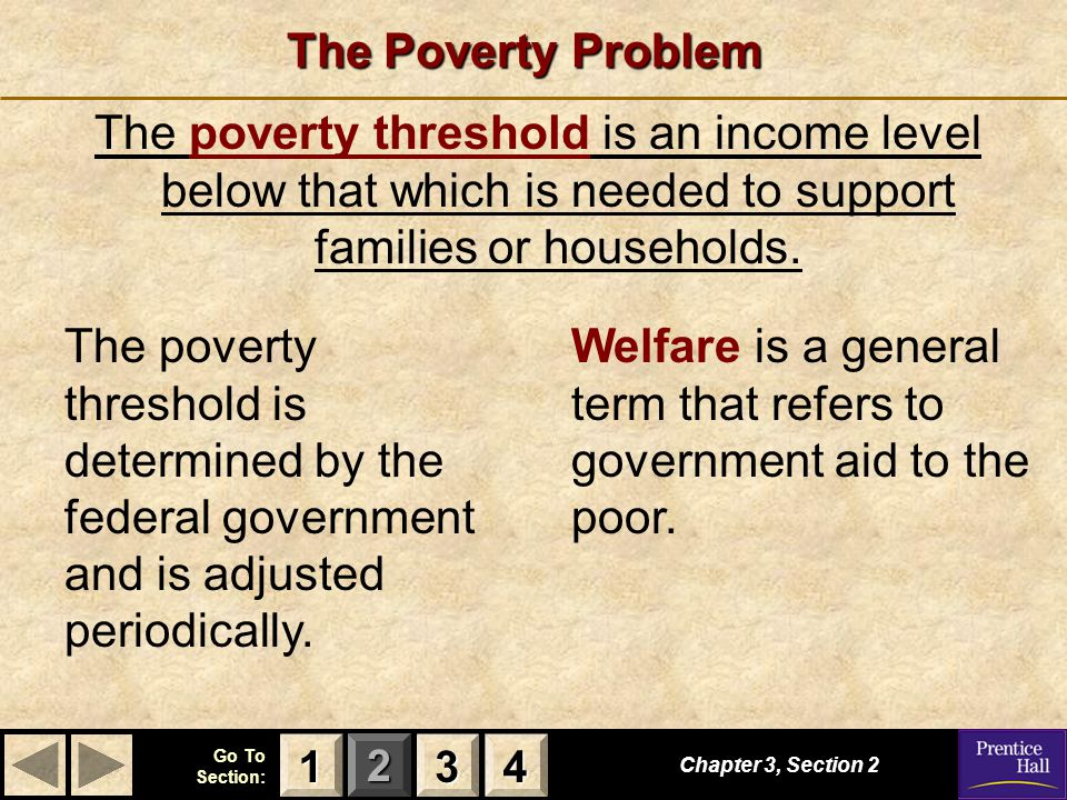 Welfare is a general term that refers to government aid to the poor.