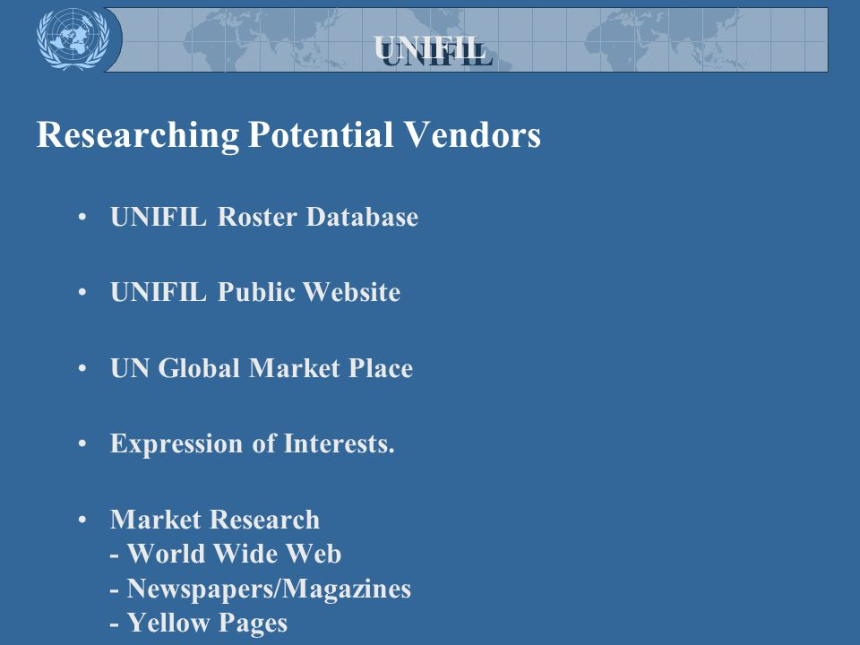 Researching Potential Vendors