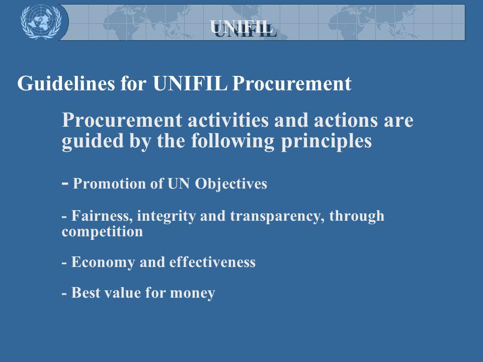Guidelines for UNIFIL Procurement