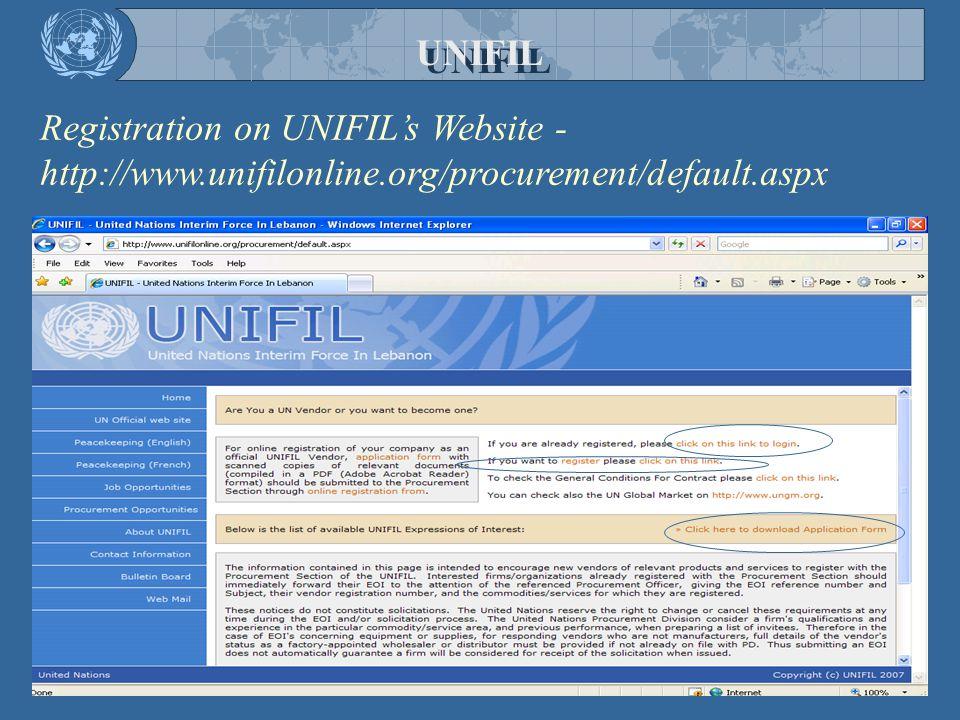 UNIFIL Registration on UNIFIL's Website - http://www.unifilonline.org/procurement/default.aspx