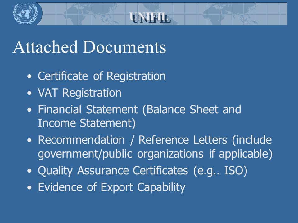 Attached Documents UNIFIL Certificate of Registration VAT Registration