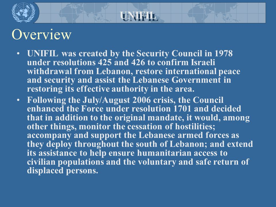 UNIFIL Overview.