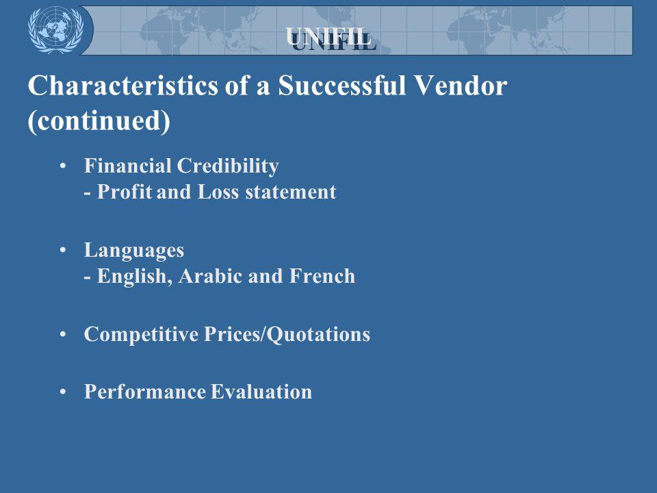Characteristics of a Successful Vendor (continued)