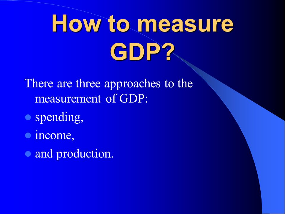 How to measure GDP.