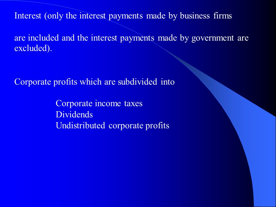 Interest (only the interest payments made by business firms