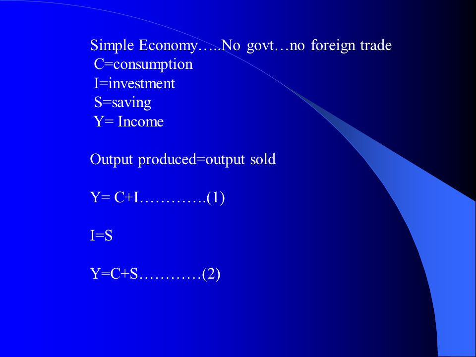 Simple Economy…..No govt…no foreign trade