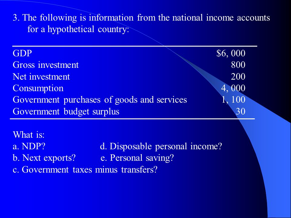 3. The following is information from the national income accounts for a hypothetical country: