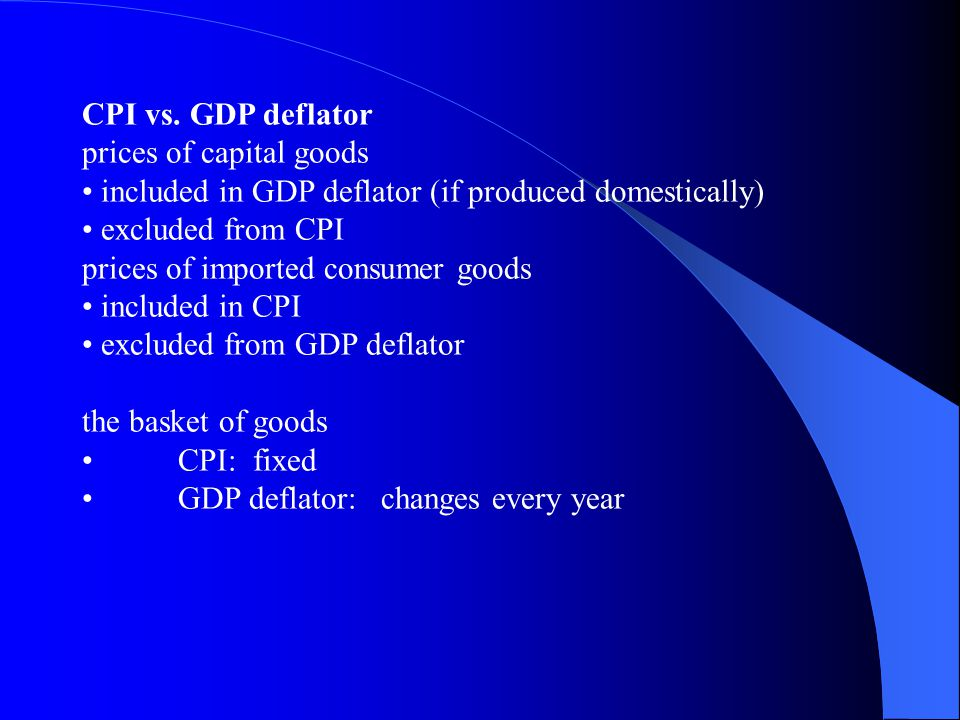 CPI vs. GDP deflator prices of capital goods. • included in GDP deflator (if produced domestically)