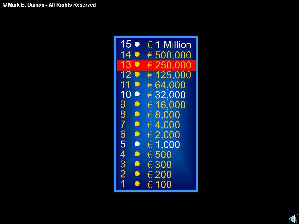 15 € 1 Million. 14. € 500,000. 13. € 250,000. 12. € 125,000. 11. € 64,000. 10. € 32,000. 9.
