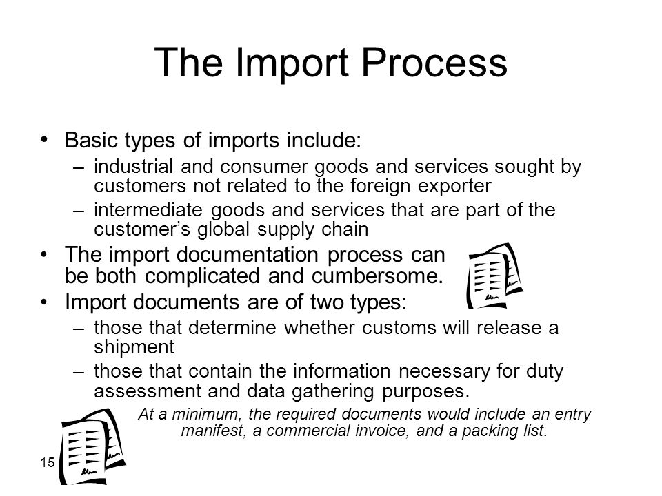 The Import Process • Basic types of imports include: