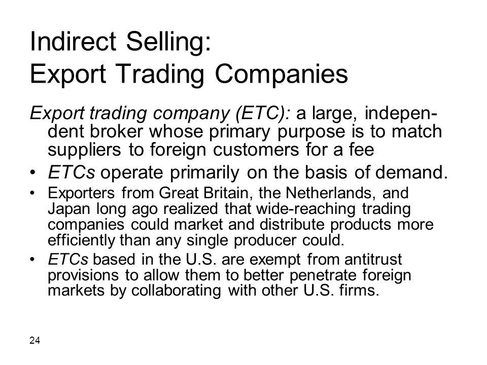 Indirect Selling: Export Trading Companies