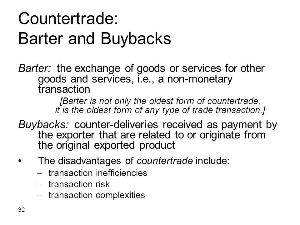 Countertrade: Barter and Buybacks