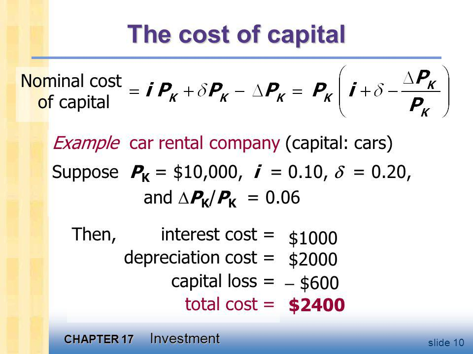 The cost of capital For simplicity, assume PK/PK = .