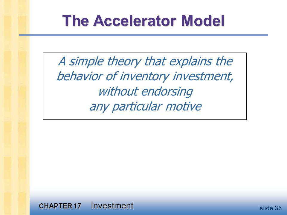 The Accelerator Model Notation: N = stock of inventories N = inventory investment.