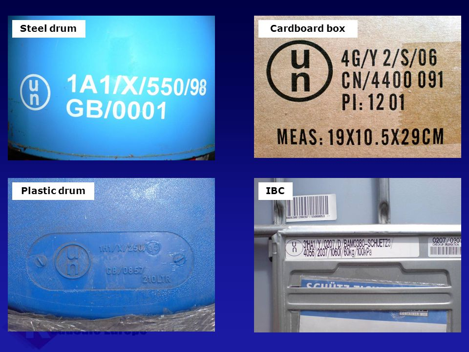 Steel drum Plastic drum Cardboard box IBC