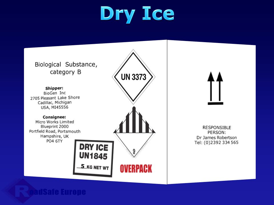 Dry Ice Biological Substance, category B 5 RESPONSIBLE PERSON: