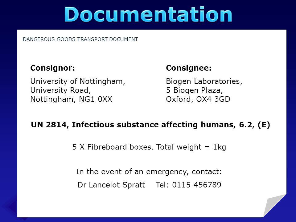 UN 2814, Infectious substance affecting humans, 6.2, (E)