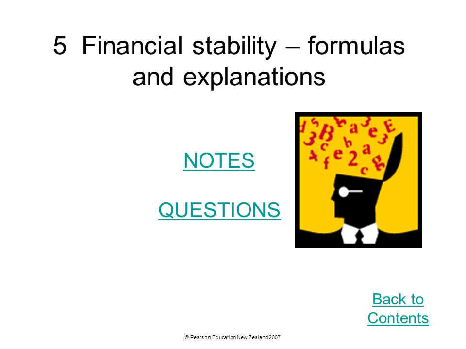 5 Financial stability – formulas and explanations