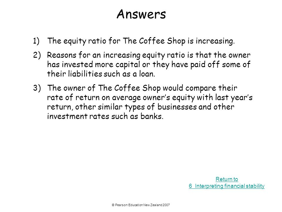 Answers 1) The equity ratio for The Coffee Shop is increasing.