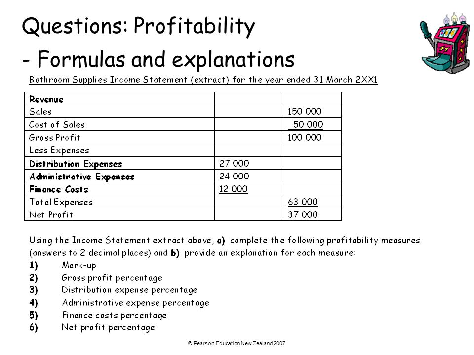 Questions: Profitability - Formulas and explanations