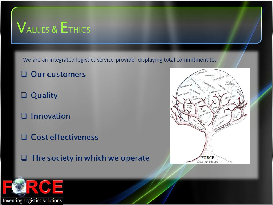 VALUES & ETHICS Our customers Quality Innovation Cost effectiveness