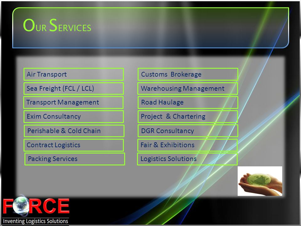 OUR SERVICES Air Transport Customs Brokerage Sea Freight (FCL / LCL)