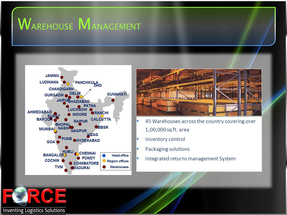 WAREHOUSE MANAGEMENT 45 Warehouses across the country covering over 1,00,000 sq ft. area. Inventory control.