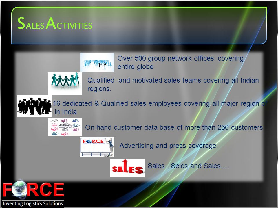 SALES ACTIVITIES Over 500 group network offices covering entire globe