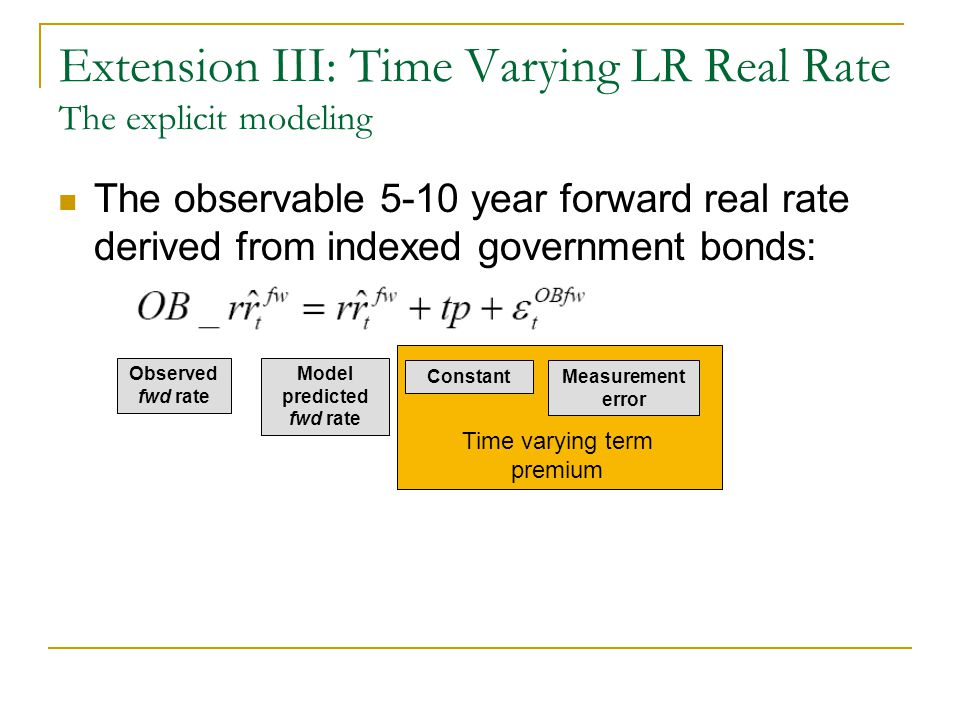 Extension III: Time Varying LR Real Rate The explicit modeling