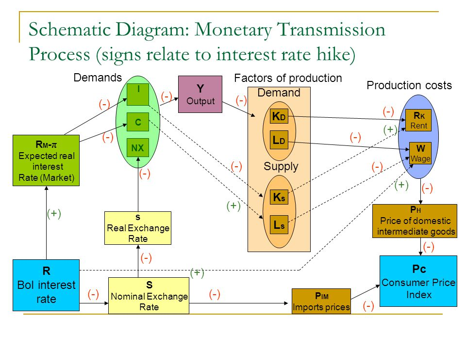 Schematic Diagram: Monetary Transmission Process (signs relate to interest rate hike)