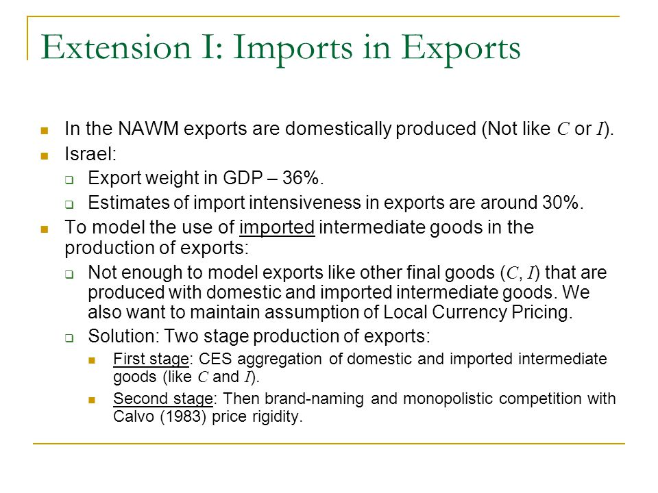 Extension I: Imports in Exports