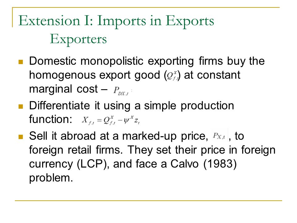 Extension I: Imports in Exports Exporters