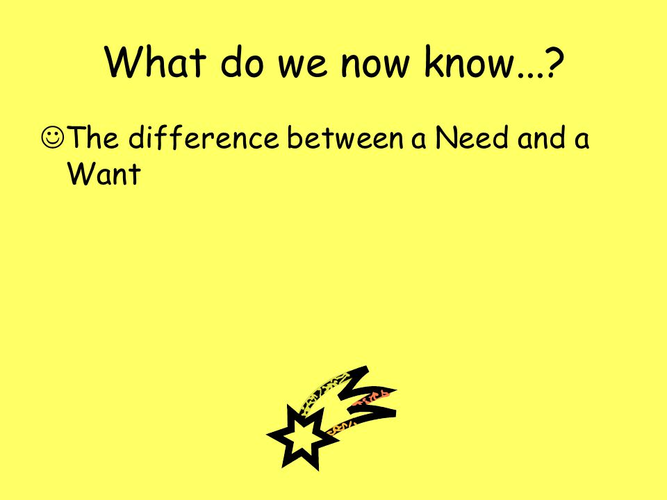 What do we now know... The difference between a Need and a Want