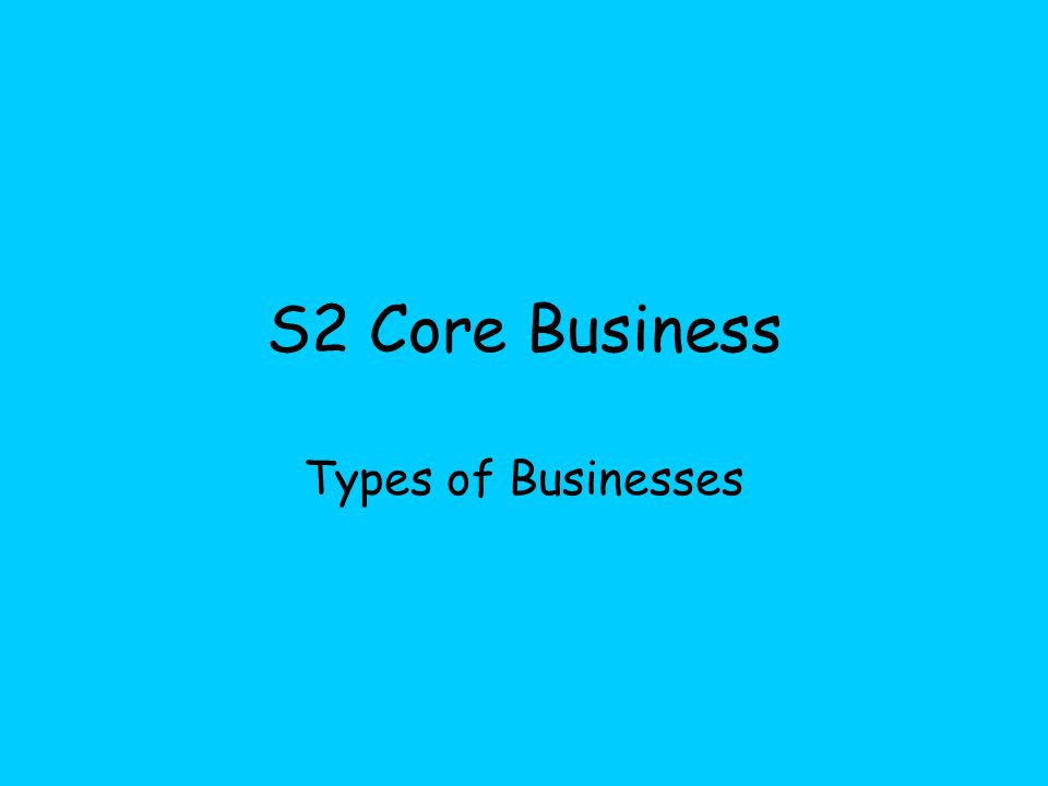 S2 Core Business Types of Businesses