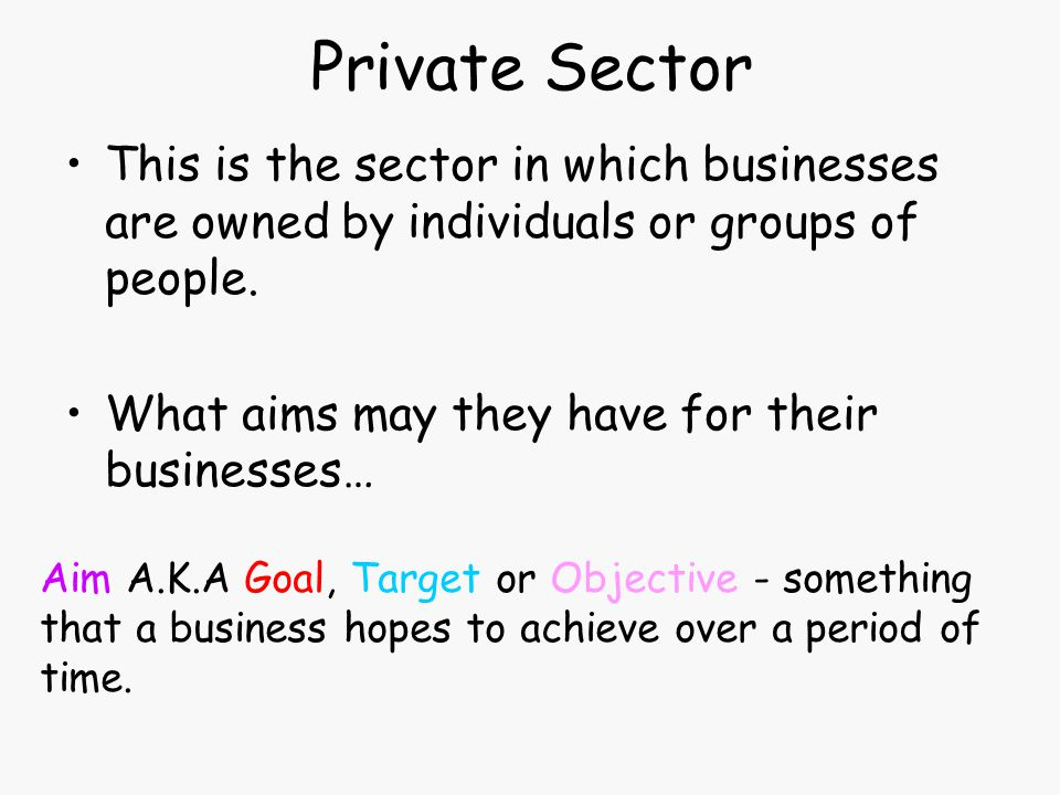 Private Sector This is the sector in which businesses are owned by individuals or groups of people.