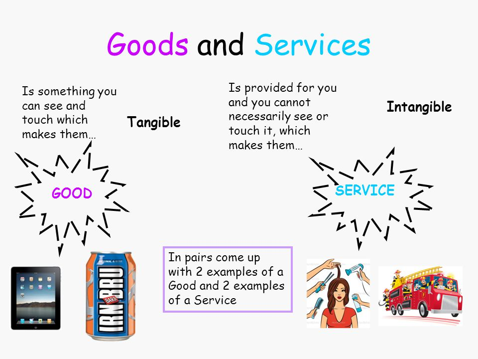 Goods and Services Intangible Tangible SERVICE GOOD