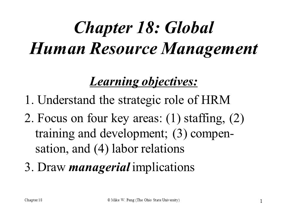 Chapter 18: Global Human Resource Management