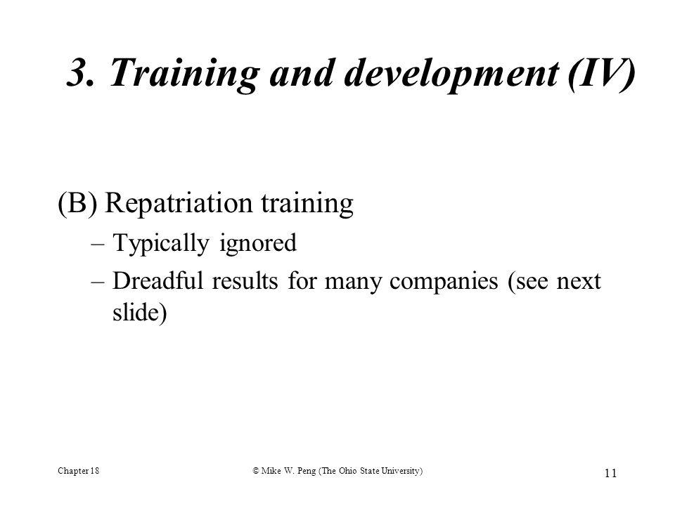 3. Training and development (IV)