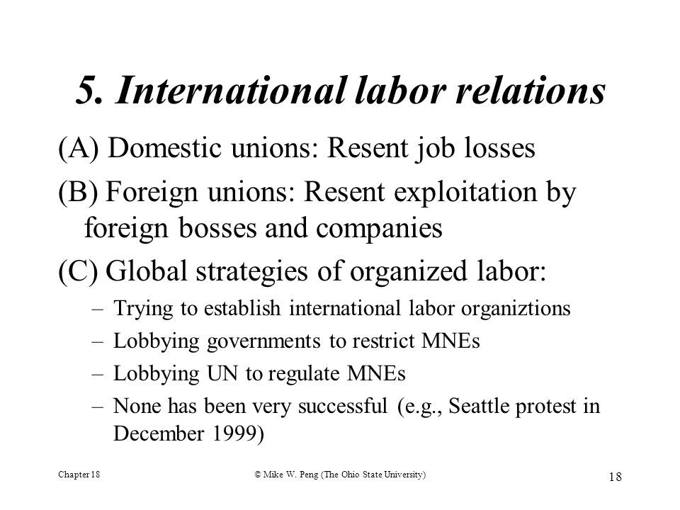 5. International labor relations