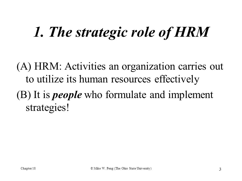 ROLE OF HRM IN STRATEGIC MANAGEMENT