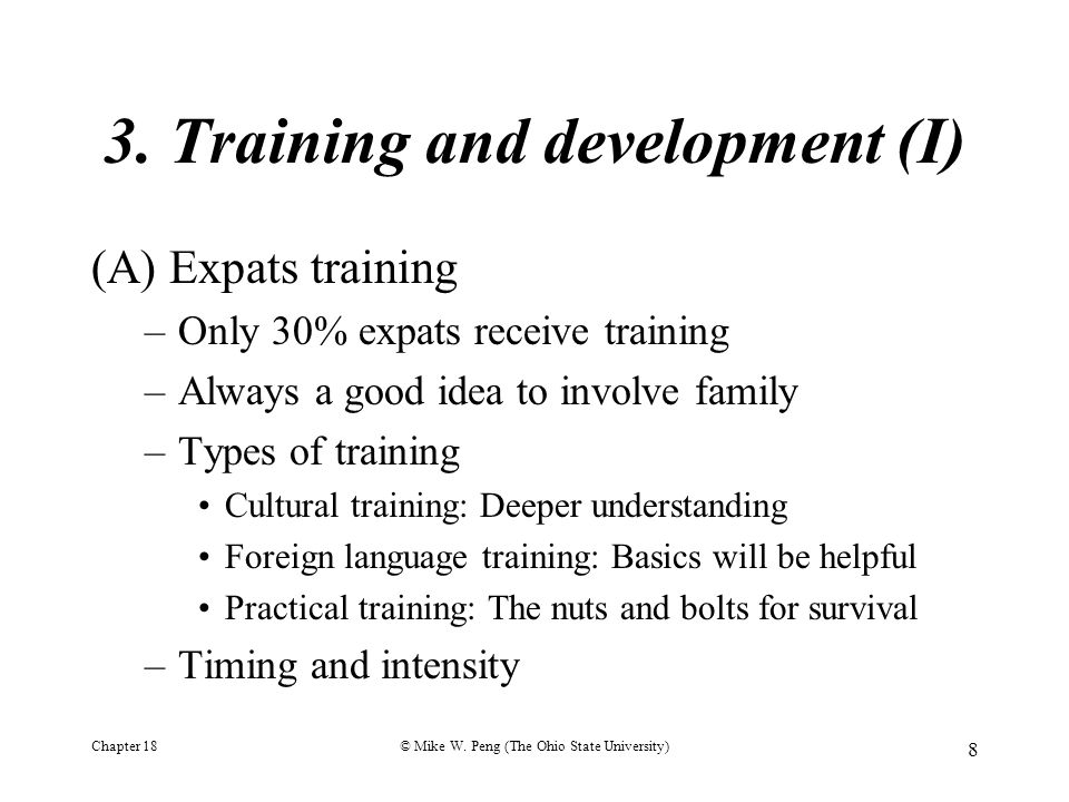 3. Training and development (I)