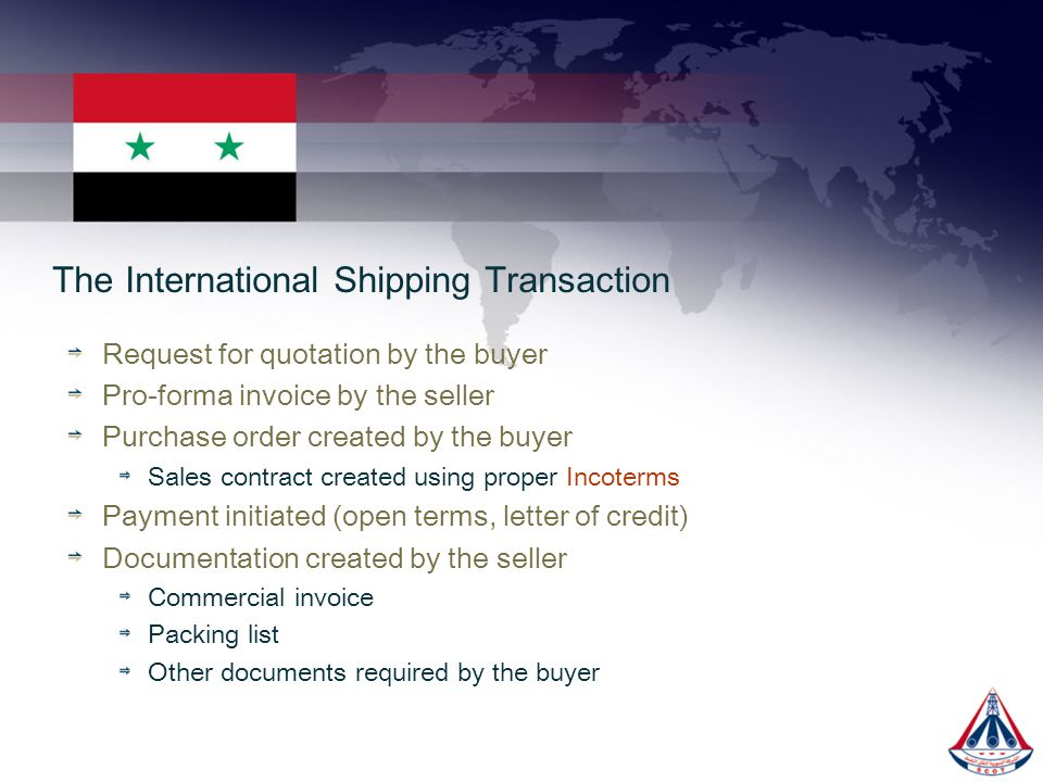 The International Shipping Transaction
