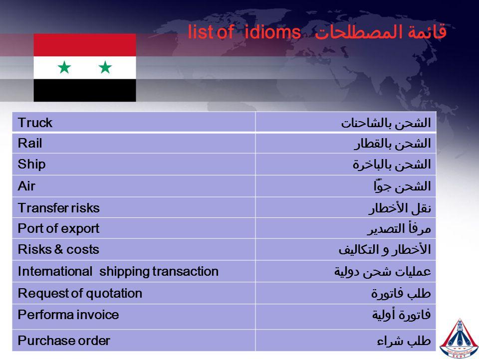 قائمة المصطلحات list of idioms