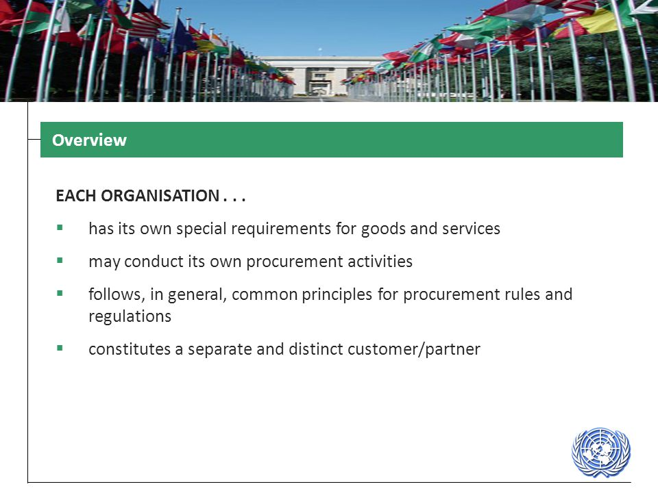 Overview EACH ORGANISATION . . . has its own special requirements for goods and services. may conduct its own procurement activities.