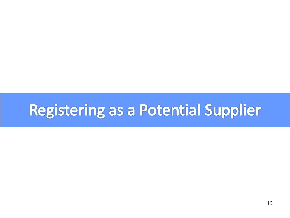 Registering as a Potential Supplier