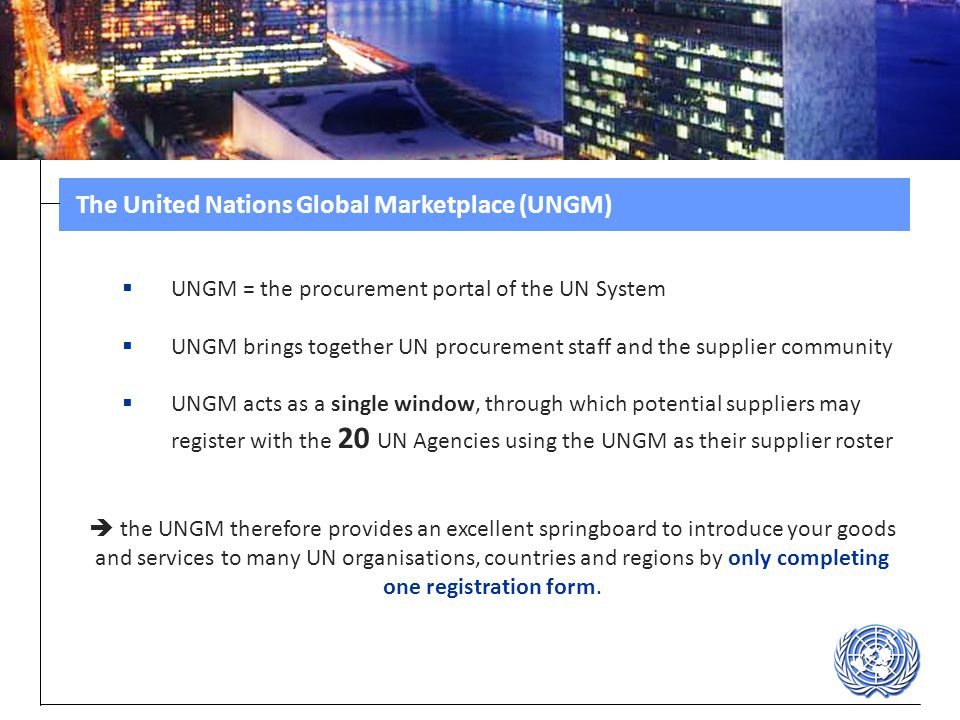 The United Nations Global Marketplace (UNGM)