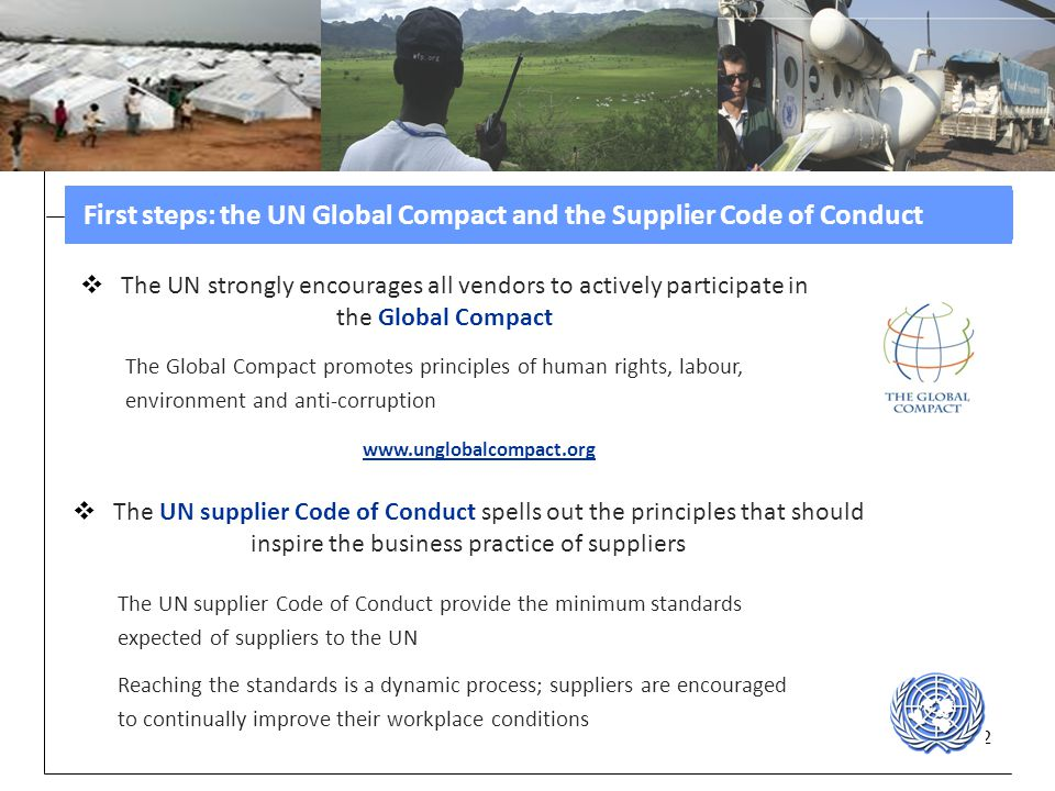 First steps: the UN Global Compact and the Supplier Code of Conduct