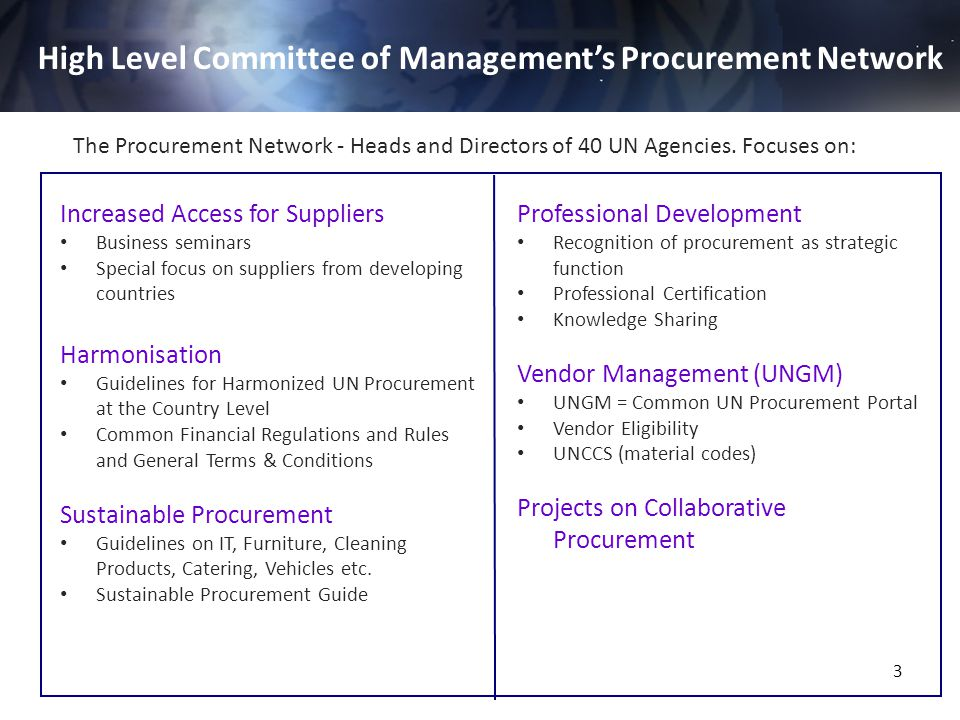 High Level Committee of Management's Procurement Network