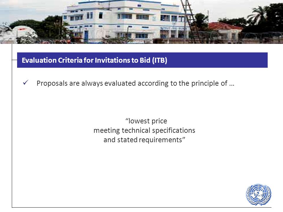 Evaluation Criteria for Invitations to Bid (ITB)
